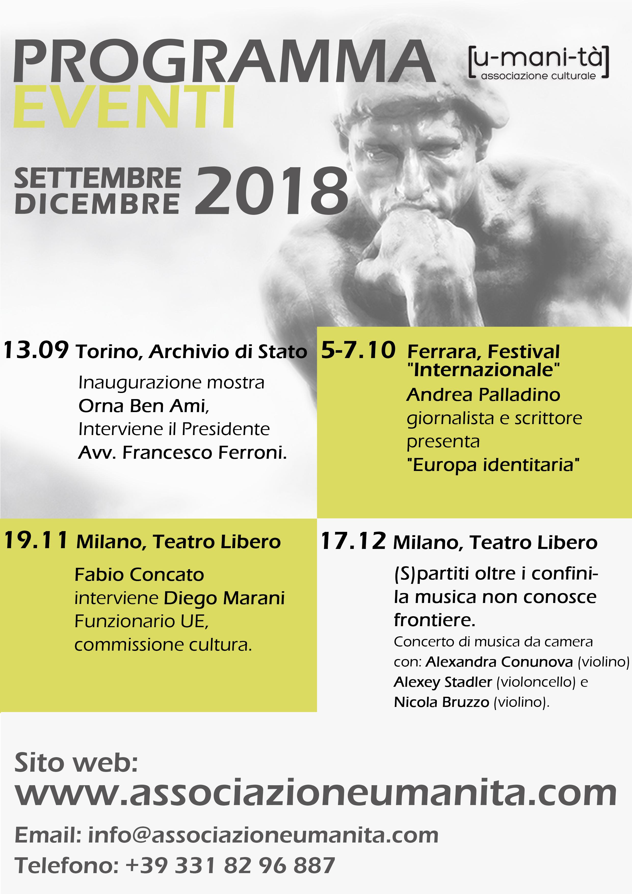 Programma eventi settembre-dicembre 2018