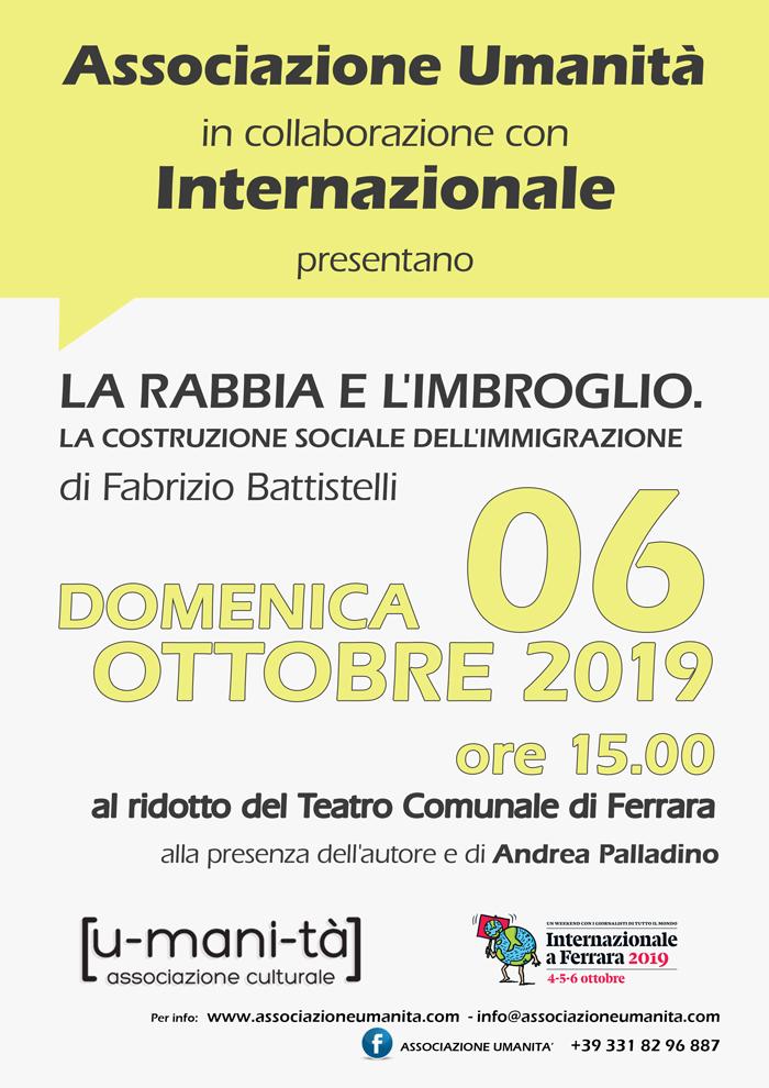 """Evento in collaborazione con Internazionale """"La rabbia e l'imbroglio. La costruzione sociale dell'immigrazione."""" di Fabrizio Battistelli"""